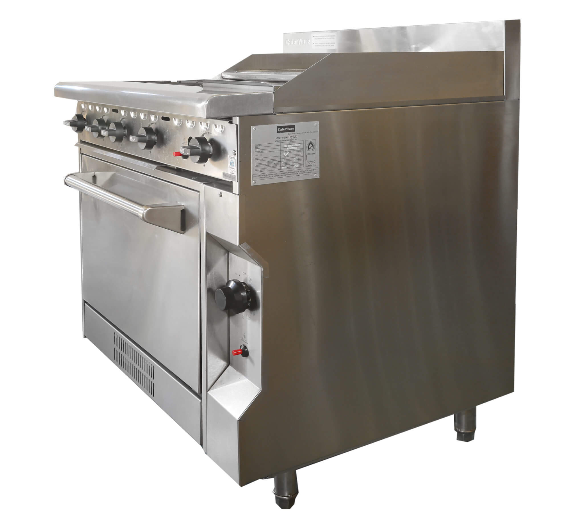 COMMERCIAL CATERWARE S/S GAS FOUR BURNER / 300mm HOTPLATE ...